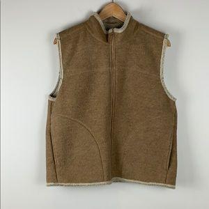 Woolrich Fleece Zip Up Vest in Tan Size Large